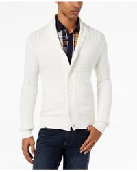 Sean John   White Men's Textured Cardigan for Men   Lyst