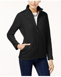 Style & Co. - Black Petite Quilted Fleece Jacket - Lyst