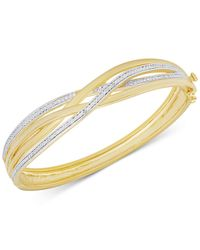 Macy's - Metallic Diamond Accent Weave-style Bangle Bracelet In Gold Over Sterling Silver-plated Brass - Lyst