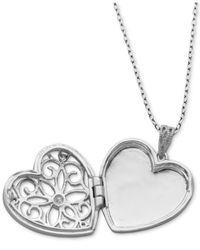 "Giani Bernini - Metallic Cubic Zirconia Openwork Filigree Heart Locket 18"" Pendant Necklace, Created For Macy's - Lyst"
