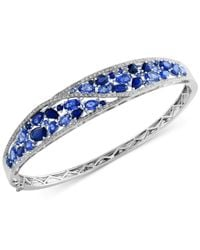 Effy Collection - Blue Sapphire (7-1/3 Ct. T.w.) And Diamond (1/2 Ct. T.w.) Bangle Bracelet In 14k White Gold - Lyst