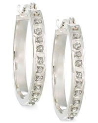 Macy's - Metallic Diamond Accent Small Hoop Earrings In 14k Gold - Lyst