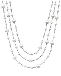 Macy's - Metallic Cultured Freshwater Pearl Triple-tier Necklace (4-8mm) In Sterling Silver - Lyst