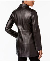 Anne Klein - Black Leather Blazer Jacket - Lyst