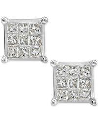 Macy's - Metallic Diamond Quad Cluster Stud Earrings (1/4 Ct. T.w.) In 10k White Gold - Lyst