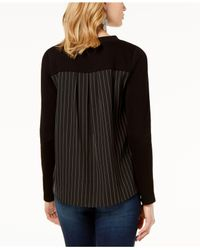INC International Concepts - Black I.n.c. Mixed-media Sweater, Created For Macy's - Lyst