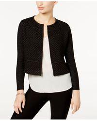 Charter Club - Black Petite Metallic-knit Cropped Cardigan - Lyst