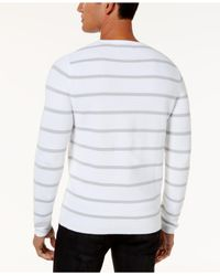 INC International Concepts - White Men's Textured Striped Sweater for Men - Lyst