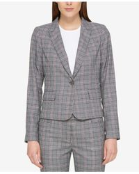 Tommy Hilfiger - Gray One-button Plaid Blazer - Lyst