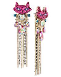 Betsey Johnson - Multicolor Two-tone Stone & Crystal Kitty Cat Fringe Drop Earrings - Lyst