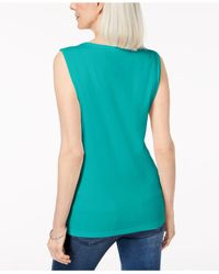 Karen Scott Blue Cotton Studded Tank Top, Created For Macy's