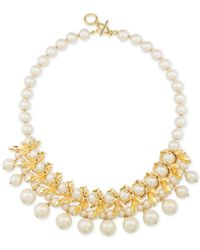 Carolee - Metallic Gold-tone Petal & Imitation Pearl Necklace - Lyst