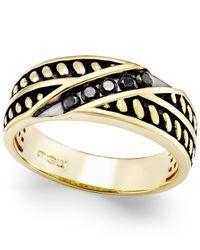Macy's - Metallic Men's Diamond Antique-look Band (1/4 Ct. T.w.) In Black Enamel And 10k Gold for Men - Lyst