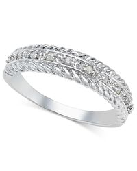 Macy's - Metallic Diamond Textured Band (1/10 Ct. T.w.) In Sterling Silver - Lyst