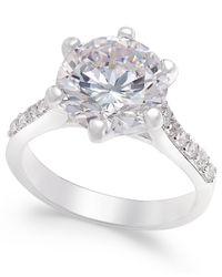 Charter Club - Metallic Silver-tone Round Crystal Ring - Lyst