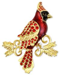 Charter Club - Metallic Gold-tone Red Crystal & Imitation Pearl Cardinal Brooch - Lyst