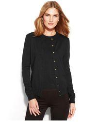 Calvin Klein - Black Long-Sleeve Button-Front Cardigan - Lyst