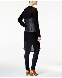 Style & Co. - Black Pointelle Duster Cardigan - Lyst