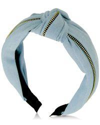 Guess - Metallic Denim Knotted & Zippered Headband - Lyst