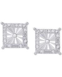 Macy's - Metallic Diamond Square Illusion-set Halo Stud Earrings (1/4 Ct. T.w.) In Sterling Silver - Lyst