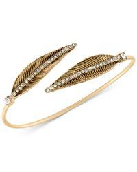 RACHEL Rachel Roy - Metallic Gold-tone Pavé Feather Bangle Bracelet - Lyst