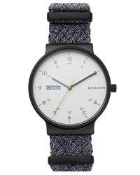 Skagen - Black Ancher Gray Nato Nylon Strap Watch 40mm - Lyst