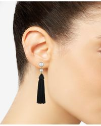 Lucky Brand - Black Two-tone Imitation Pearl Knotted Tassel Drop Earrings - Lyst