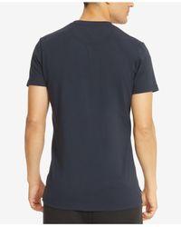 Kenneth Cole Reaction - Blue Men's Split-neck Faux Leather Pieced T-shirt for Men - Lyst