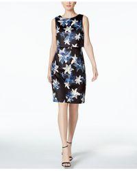 7a140e24cb Lyst - Ivanka Trump Floral-print Scuba Popover Dress in Black