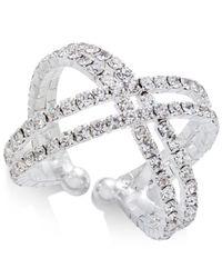INC International Concepts   Metallic Silver-tone Crystal Crisscross Flex Ring   Lyst