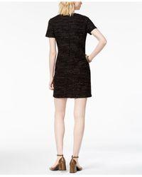 Maison Jules - Black Textured Shift Dress - Lyst