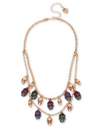 Betsey Johnson - Multicolor Two-tone Multi-stone & Glitter Skull Double-layer Necklace - Lyst