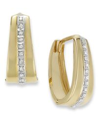 Macy's - Metallic 14k Gold Earrings, Diamond Accent Oval Hoop Earrings - Lyst