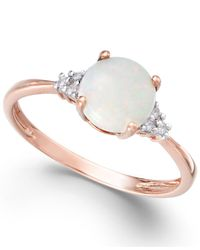 Macy's - Pink Opal (3/4 Ct. T.w.) And Diamond Accent Ring In 14k Rose Gold - Lyst