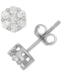 Macy's - Metallic Diamond Cluster Stud Earrings (1/2 Ct. T.w.) In Sterling Silver - Lyst