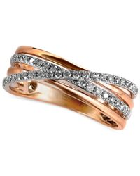 Effy Collection - Metallic Diamond Pave Crossover Ring (1/4 Ct. T.w.) In 14k Rose Gold - Lyst