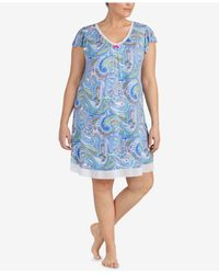 Ellen Tracy - Blue Plus Size Printed Chiffon-hem Short Nightgown - Lyst