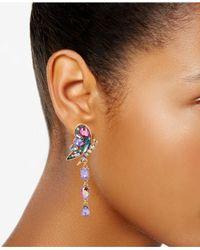 Betsey Johnson - Metallic Gold-tone Crystal Butterfly & Flower Mismatch Earrings - Lyst