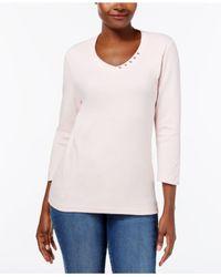 Karen Scott - Multicolor Cotton V-neck Button Top, Created For Macy's - Lyst