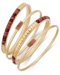 INC International Concepts - Red Gold-tone 4-pc. Brown Bead Bangle Bracelet Set - Lyst