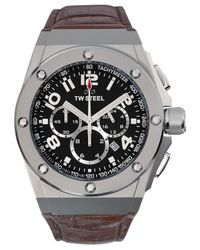 TW Steel - Gray Unisex Chronograph Ceo Tech Brown Leather Strap Watch 44mm Ce4013 for Men - Lyst