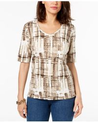 Karen Scott Multicolor Petite Abstract Plaid-print Top, Created For Macy's