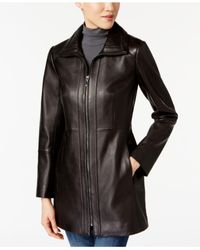 Anne Klein - Black Zip-up Leather Jacket - Lyst