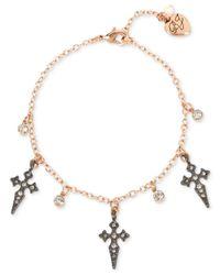 Betsey Johnson - Metallic Two-tone Crystal Cross Ankle Bracelet - Lyst
