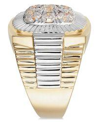 Macy's - Metallic Men's Diamond Cluster Two-tone Ring (2 Ct. T.w.) In 14k Gold - Lyst