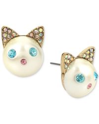 Betsey Johnson - Blue Gold-tone Colored Pavé & Imitation Pearl Cat Stud Earrings - Lyst