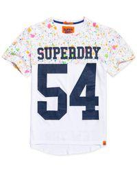 Superdry - Blue City Number Paint-splatter Logo-print T-shirt for Men - Lyst
