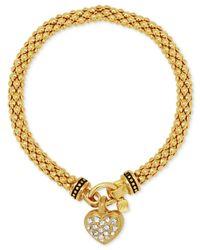 Nine West - Metallic Weave-style Pavé Heart Charm Stretch Bracelet - Lyst