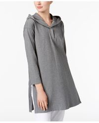 Eileen Fisher - Gray Hooded Tunic - Lyst