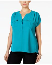 INC International Concepts - Blue Plus Size Mixed-media Utility Shirt, Only At Macy's - Lyst